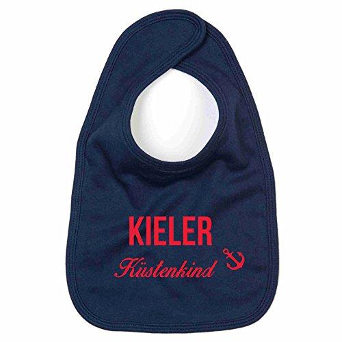 Baby Lätzchen Kieler Küstenkind Kinderlätzchen Kinderlatz Schlabberlatz Batterl, dunkelblau-rot