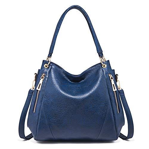 KrisAnna Hobo Bolso de hombro con Mango Largo para Mujer azul marino
