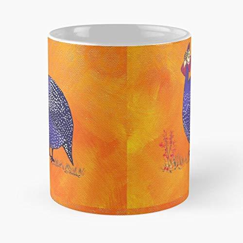 Taza de café de cerámica de 11 onzas con diseño de pájaro, color morado, diseño de gallina de guinea, color naranja