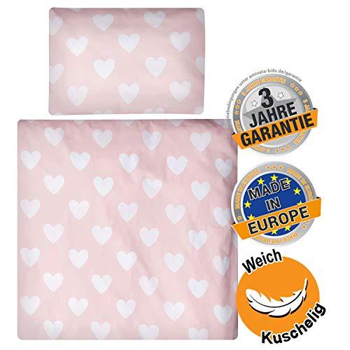 Aminata Kids - Wiegen-Baby-Bettwäsche-Set Herzen 80-x-80-cm & 35-x-40 cm Mädchen - Baumwolle - rosa, weiß - weich und kuschelig, für Beistellbett, Sicherheits-Reißverschluss, Öko-Tex