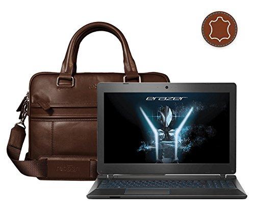 Leder Laptoptasche für Damen/Herren passend für Medion ERAZER P6681   Braun
