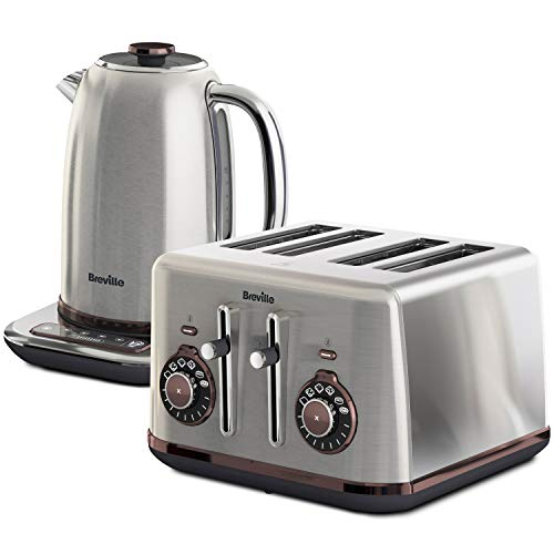 Breville Selecta Kettle and Toaster Set | Temperature Select 1.7 Litre Kettle | Bread Select 4 Slice Toaster with Independent 2-Slice Controls | Brushed Stainless Steel [VKT159 and VTT953]