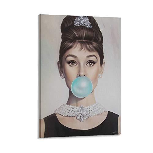 SWSN Póster decorativo de Audrey Hepburn Bubble Gum Print, cuadro decorativo lienzo para pared, sala de estar o dormitorio, 50 x 75 cm