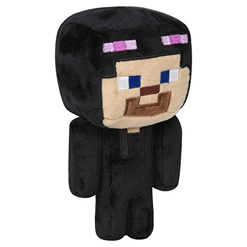 JINX Minecraft Happy Explorer Steve in Enderman Costume Plush Stuffed Toy, Black/Purple, 7' Tall