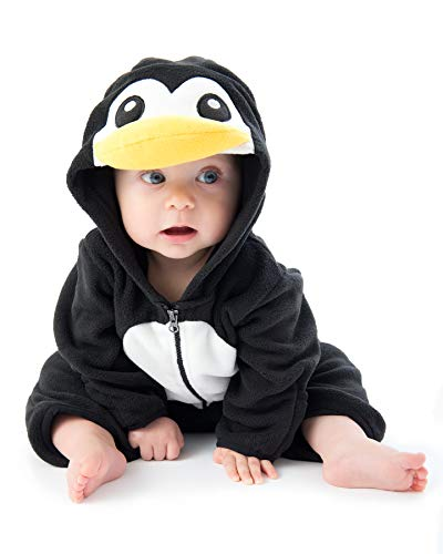 Cuddle Club Mono Polar Bebé para Recién Nacidos a Niños 4 Años - Pijamas Infantiles Chaqueta de Invierno Abrigo Polar Niño Mono de Niños - PenguinBlack/White18-24m