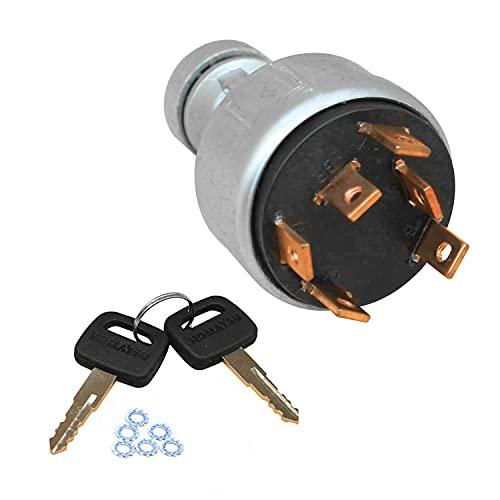Weelparz 6 Pines de Encendido de Interruptor de Llave con 2 Llaves 20Y-06-24680 22B-06-11910 08086-10000 Compatible con Komatsu Pc200-7 Pc120-6 Pc130-6 Pc250-6 Pc200-2 Pc200-3 Pc200-5