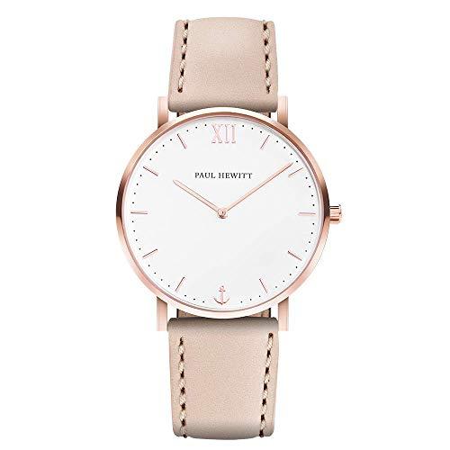 PAUL HEWITT Reloj de Mujer Sailor White Sand - Reloj de Mujer de Acero Inoxidable (Oro Rosa), Reloj de Pulsera para Mujer con Esfera Blanca y Correa de Cuero en Color Avellana