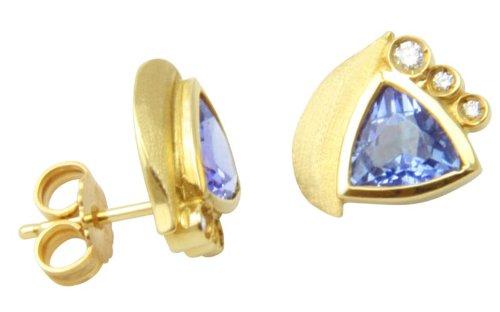 UNIKAT Tansanit Ohrstecker Gold Goldschmiedearbeit (Gelbgold 585) - Ohrringe mit Tansanit 1,92 Karat und Diamanten - Tansanitohrstecker mit Expertise