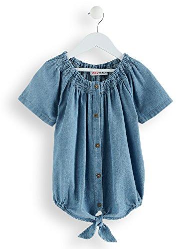 Amazon-Marke: RED WAGON Mädchen Bluse aus Chambray mit Knoten, Blau (Light Blue), 110, Label:5 Years