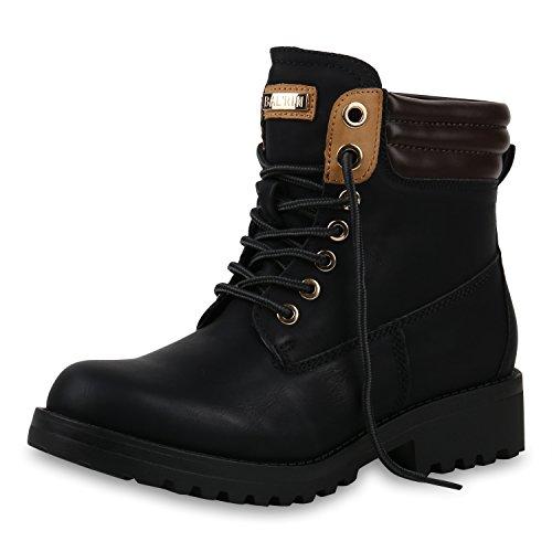 SCARPE VITA Warm Gefütterte Damen Outdoor Stiefeletten Worker Boots 151813 Schwarz Schwarz Black 42