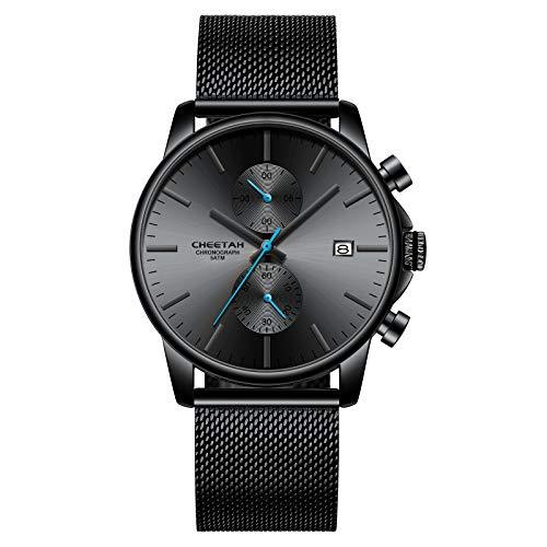 Herrenuhren Mode Sport Quarz Analog Schwarz Mesh Edelstahl wasserdichte Chronograph Armbanduhr, Auto Date in blauen Zeigern