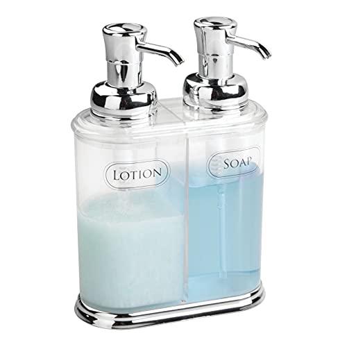 mDesign dispenser doppio a pompa – ricaricabile – colore trasparente – perfetto per il bagno e la cucina