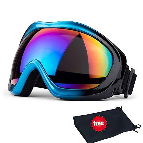 Jteng Gafas de esquí, snowboard, protección UV, gafas de esquí, gafas de nieve, gafas de snowboard, gafas de espejo, gafas de moto, para mujer, hombre, niña, niño, azul