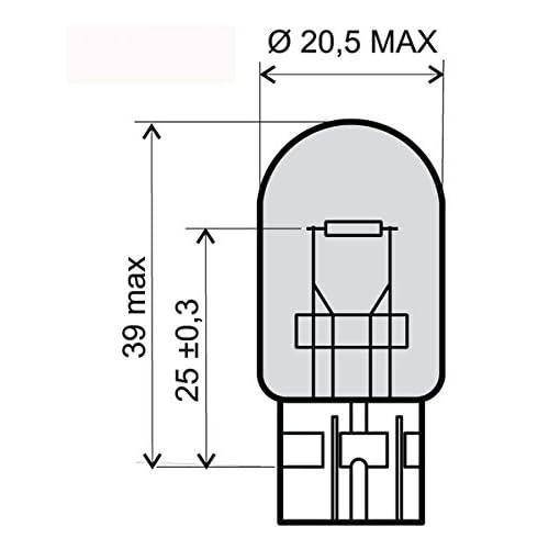 RMS Lampada 12V 21W T20 Tutto vetro Arancione Lamp 12V 21W T20 All Glass Orange