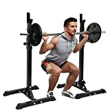 Adjustable Squat Rack Barbell Rack - Weight Bench Dipping Station Barbell Rack - Heavy Duty Weight Rack Squat Stand Free Bench Press Stands - Home Gym Strength Training Workout Exercise | 550LB Max