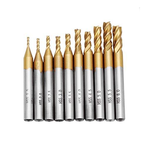 Cómodo 10pcs Titanio Revestimiento 1.5-6.0mm HSS 4 extremo de la flauta molino de cuchillas rectas de 6 mm Brocas Vástago CNC for la placa de madera de plástico de aluminio Fuerte ( Color : Silver )