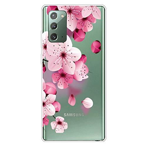 Miagon Transparent Hülle für Samsung Galaxy Note 20,Kirsche BlumeMuster Kreativ Süße Durchsichtig Klar Soft Ultra Dünn Silikon Case Cover Schutzabdeckung