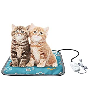 EACHON Heating Pad for Dogs Cats Electric Heated Pet Beds Warming Pet Mats Adjustable Safety Waterproof Chew Resistant Steel Cord wifh Free pet Comb (S Gray) (Blue paw) (Blue)