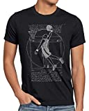 style3 Jugador de Baloncesto de Vitruvio Camiseta para Hombre T-Shirt da Vinci Hombre Basketball, Talla:M, Color:Negro