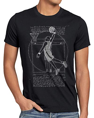 style3 Giocatore di Pallacanestro Vitruviano T-Shirt da Uomo da Vinci Uomo Basketball, Dimensione:XL, Colore:Nero