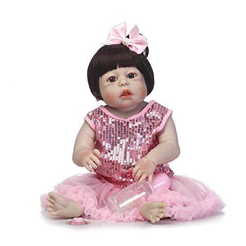 GAOFQ Muñeca Reborn de Silicona de Cuerpo Completo, Juguete Realista para recién Nacidos, Princesa, niñas, bebés, muñeca, 55 cm, 22 Pulgadas, Regalo de cumpleaños para niños, Juguete para bañarse