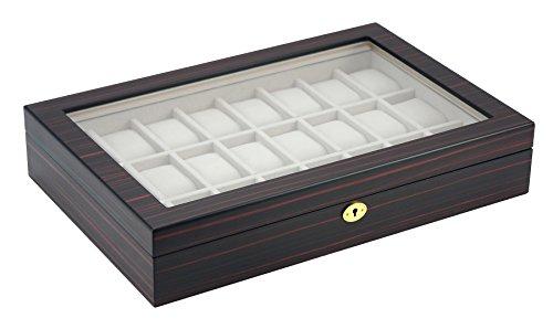 Woolux Uhrenbox Holz für 24 Uhren Sichtfenster Echtglas Uhrenschatulle Uhrenvitrine Farbe Mahagoni