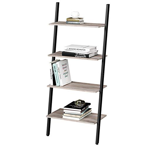 VASAGLE ALINRU Ladder Shelf, 4-Tier Bookshelf, Storage Rack Shelves, for Living Room, Kitchen, Office, Steel, Stable, Sloping, Leaning Against The Wall, Industrial, Greige and Black ULLS043B02
