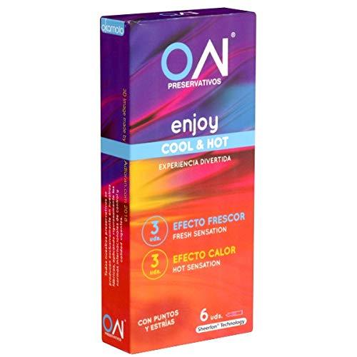 Okamoto ON ENJOY Hot & Cool - 6 condones, con efecto de calentamiento y refrescante, hecho en Japón