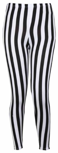 Leggings para mujer, de Purple Hanger, cintura elástica, estampado de rayas verticales Negro negro 36/38
