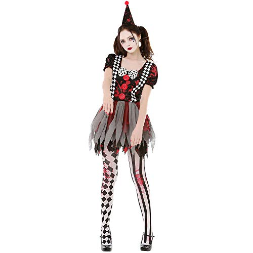 Crazy Clown Halloween Costume - Creepy Circus Girl Costumes for Women (Large)
