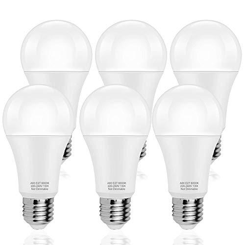 LAKES E27 A60 13W LED Glühlampe, 100W Halogenlampenäquivalent, nicht-Dimmable, 1200LM, Energiesparende LED Glühbirne, 6000K Kaltes Weiß, 6-PACK
