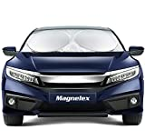 Magnelex Car Windshield Sunshade with Bonus Steering Wheel Cover Sun Shade. 210T Reflective Polyester Blocks Heat and Sun. Foldable Sun Shield That Keeps Your Vehicle Cool (Large 63 x 33.8 in)
