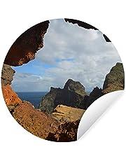 Muursticker Madeira - Vulkanisch landschap op Madeira - Ø 120 cm - rond schilderij - behangcirkel - muurcirkel - wooncirkel - zelfklevend & rond uitgesneden - zelfklevende behangsticker