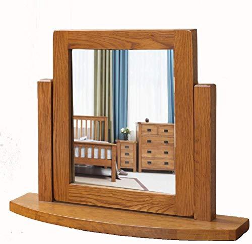 El espejo cosmético espejo compacto de escritorio pura madera maciza espejo de maquillaje americana rústica mesa de espejo espejo espejo de roble pequeño cosmética fuentes del regalo espejos de baño l