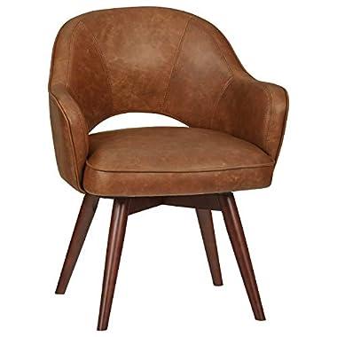 Amazon Brand – Rivet Mid-Century Bonded Leather Swivel Chair, 23.6″W, Brown