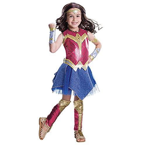 GDYJP Traje de la Chica de Wonder Girl Dress Up Superhéroe Cosplay Disfraz de Halloween para niños (Color : Red, Tamaño : S)