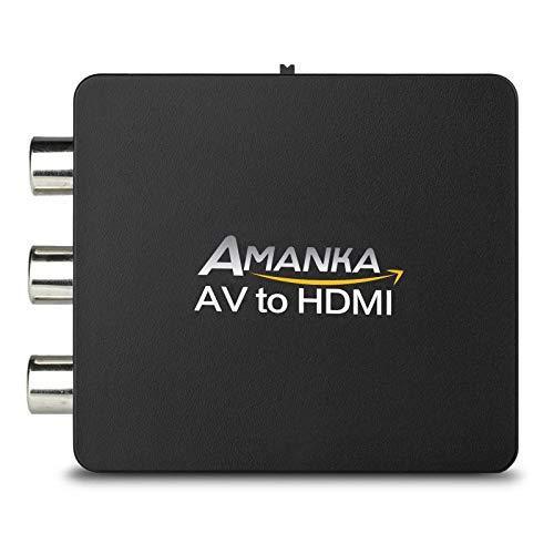 AMANKA Adaptateur RCA vers HDMI, Mini AV RCA CVBS vers HDMI Vidéo Audio Convertisseurs Support 720 1080P pour PC Portable Xbox PS4 PS3 TV STB Blu Ray Sky HD VHS Magnétoscope Caméra DVD