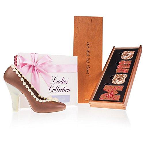 MAMA-Schokobuchstaben & High Heel - Set Geschenkidee für Mutter | Geschenkset zum Muttertag | Muttertagsgeschenk | Schokolade für Mama | Geburtstag Mutti Geschenke | Schokoladenschuh