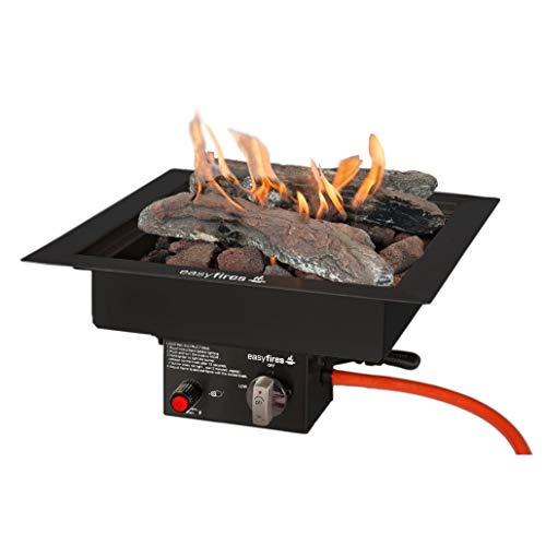 Easyfires inbouwbrander zwart 40x40x16,5 cm voor vuurtafel, haard, gasvuurplaats, roestvrij staal zwart
