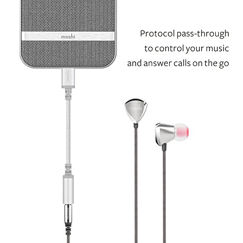 Moshi Integra Lightning to 3.5mm Headphone Jack Adapter [MFi Certified], Ballistic Nylon Braided, Aluminum Housings, Exceeds 10,000 Bend Cycles, for iPhone/iPad/iPod Touch, Jet Silver
