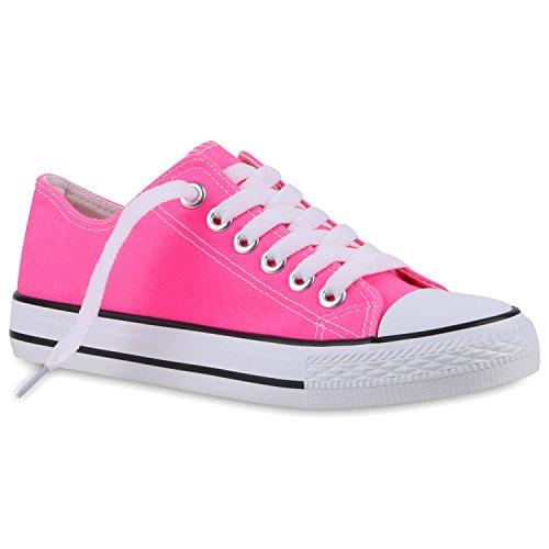 Herren Sneakers Freizeit Sport Schnürer StoffFitness Streetstyle viele Farben Schuhe 120615 Neonpink 36 Flandell