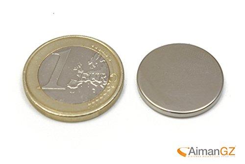 10 piezas de imán de neodimio - 20 mm de diámetro x 3 mm de grosor - fuerza de atracción de 3,6 Kg - 2400 gauss