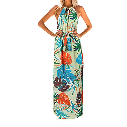 Womens Summer Boho Dresses Casual Halter Maxi...