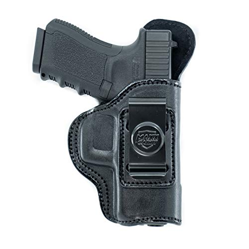 Maxx Carry IWB Leather Holster Compatible with Glock 19 Gen 5,20,21,30/S,45 | S&W SD9VE | CZ P01, P07, P09, P10C, 75 | Sig Sauer P226,P229,P320 | Springfield XD 4 Service, XDM,Black, Right Hand Draw
