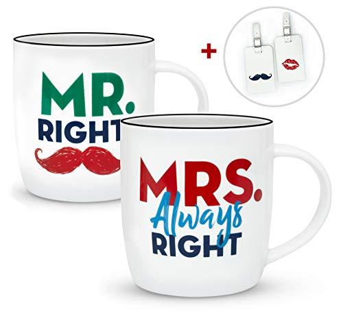 Gifffted Mr Right Mrs Always Right Tassen und Kofferanhänger Set für Sie und Ihn, Hochzeitsgeschenke für Brautpaar,Paar Geschenk, Braut Bräutigam, Paare Weihnachtgeschenke, Hochzeitstag, Kaffeetasse