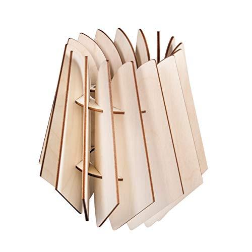 Rayher 62899505 Oslo - Kit de creación de lámpara de lamas de diseño escandinavo de madera natural con certificado FSC, 18,5 x 18,5 x 20 cm, pantalla para lámpara de pie o lámpara colgante