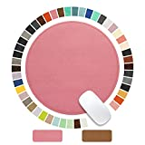 Round Mouse Pad PU Leather Mouse Pad with Stitched Edge Micro-Fiber Base with Non-Slip Waterproof, Mouse Pad for Computers, Laptop, Office & Home,1 Pack, 9inch9inch (Pink 2.0)