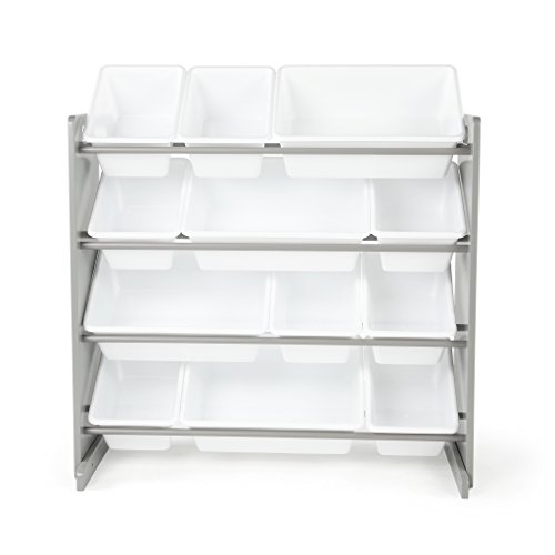 Tot Tutors Kids' Toy Storage Organizer with 12 Plastic Bins, Grey/White (Inspire Collection)