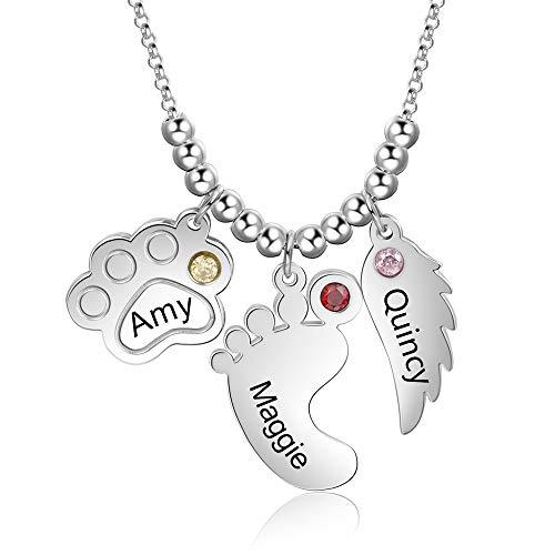 XiXi Collar Personalizado con Colgante de Pie de Bebé con Nombre Grabado con Estampado de Pata Collar de Ala de Angel Collar de Regalo para Mujeres Madre Hija