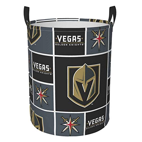 Ve-Gas GOL-den K-Nights 3D Printed Circular Hamper Dirty Clothes Laundry Basket Storage Bag with Durable Handle for Bedroom, Livingroom, Toys, Pillows, Blanket Clothes